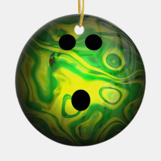 Green and Yellow Swirl Bowling Ball Ornaments
