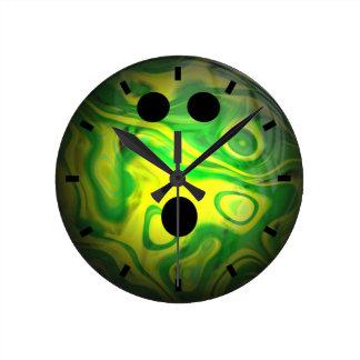 Green and Yellow Swirl Bowling Ball Round Clock