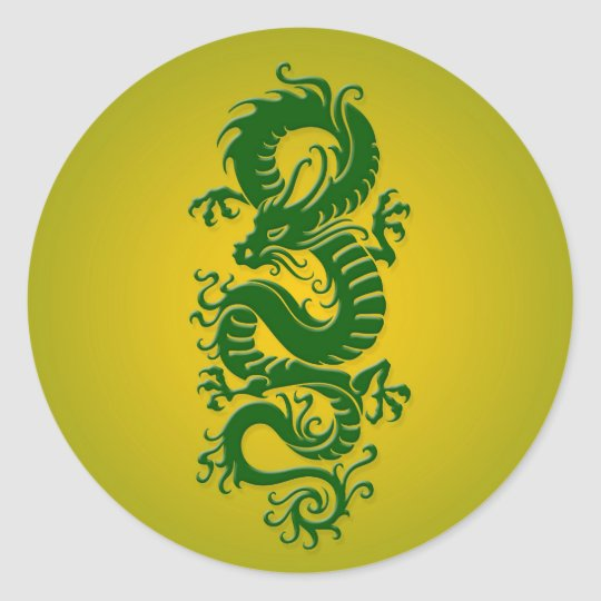 Green and Yellow Tribal Chinese Dragon Classic Round Sticker