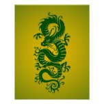 Green and Yellow Tribal Chinese Dragon Posters