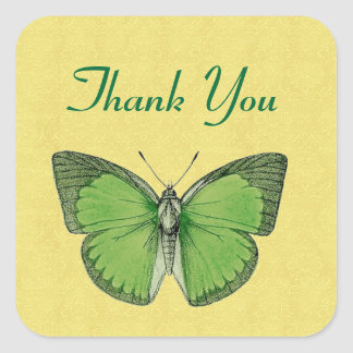 Green and Yellow Vintage Butterfly Thank You V29 Square Sticker