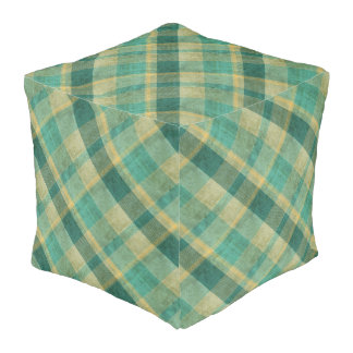 Green and Yellow Vintage Plaid Effect Cube Pouf