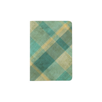 Green and Yellow Vintage Plaid Effect Passport Holder