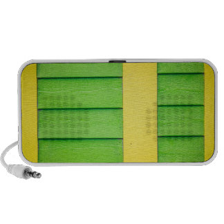 Green and Yellow Wooden Siding iPod Speakers