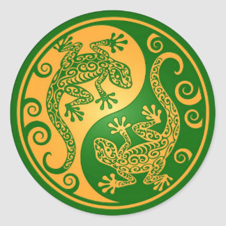 Green and Yellow Yin Yang Geckos Classic Round Sticker
