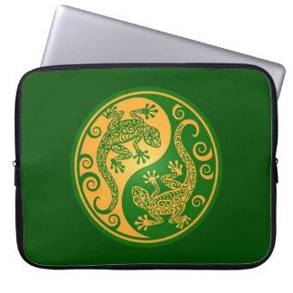 Green and Yellow Yin Yang Geckos Laptop Computer Sleeves