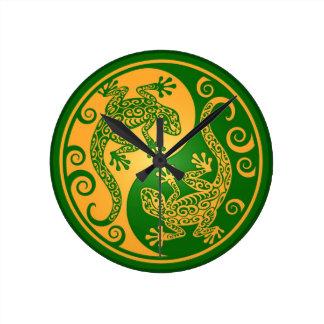 Green and Yellow Yin Yang Geckos Round Clock