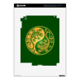 Green and Yellow Yin Yang Geckos Skins For iPad 3