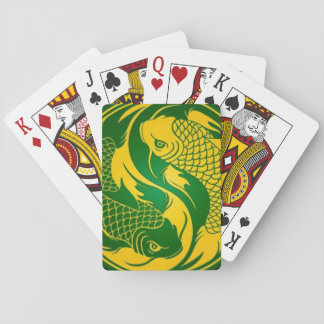 Green and Yellow Yin Yang Koi Fish Poker Cards