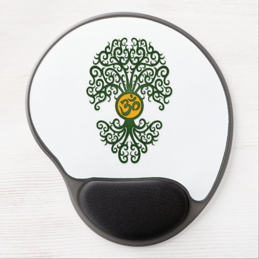 Green and Yellow Yoga Om Tree on White Gel Mouse Pad