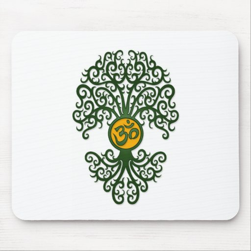 Green and Yellow Yoga Om Tree on White Mouse Pads