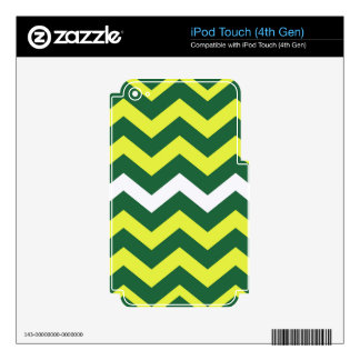Green and Yellow Zigzags Decals For iPod Touch 4G