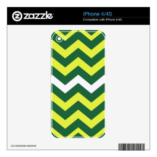 Green and Yellow Zigzags Skins For The iPhone 4