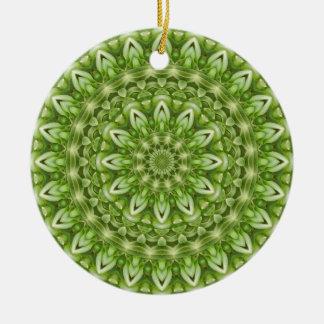 Green Anemone Mandala 1 Ceramic Ornament