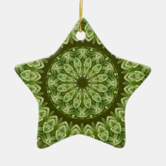 Green Anemone Mandala 2 Ceramic Ornament