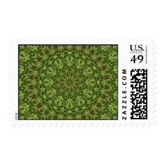 Green Anemone Mandala 4 Postage Stamps