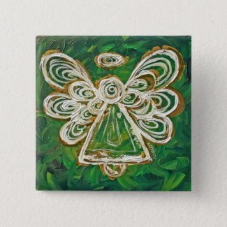 Green Angel Button or Pin
