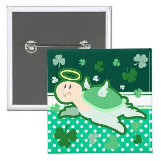 Green Angel Clover Turtle Pinback Button