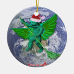 Green Angel Peace On Earth Christmas Tree Ornament