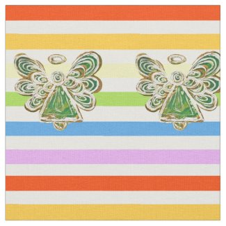 Green Angel Rainbow Stripe Fabric Art Material
