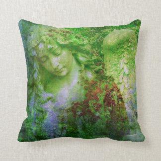 Green Angel Statue Fairy Garden Pillow