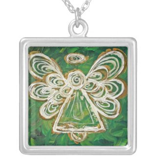 Green Angel Wings Silver Necklace