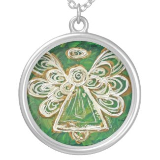 Green Angel Wings Silver Necklace Charm Pendant