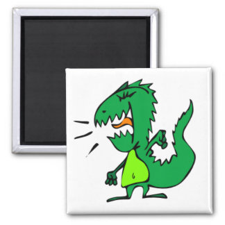 Green Angry Dinosaur Magnet