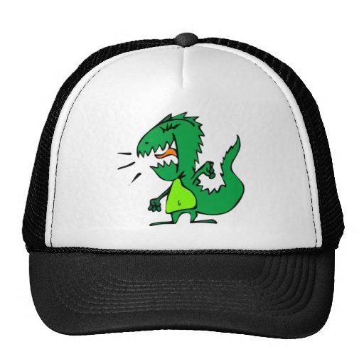 Green Angry Dinosaur Trucker Hat