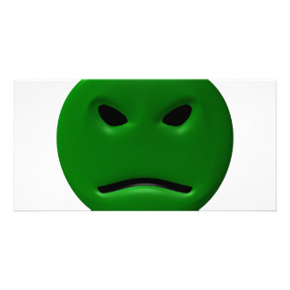 Green Angy Smiley Card