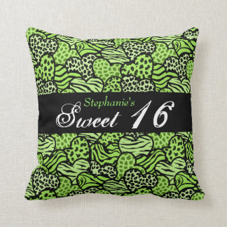 Green animal pattern hearts Sweet Sixteen Pillow