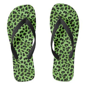 Beach Themed Green Animal Print Flip Flops