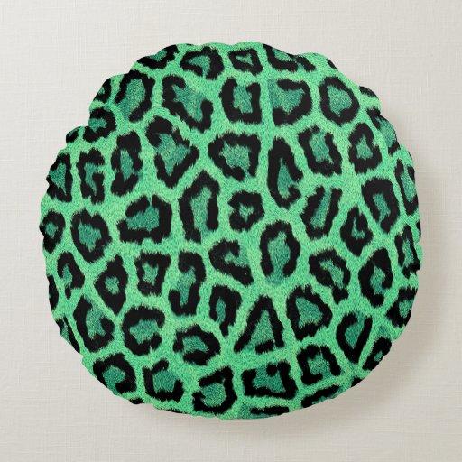 Round Animal Pillows : Green animal print round pillow Zazzle