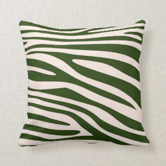 Green Animal print skin of Zebra Throw Pillow