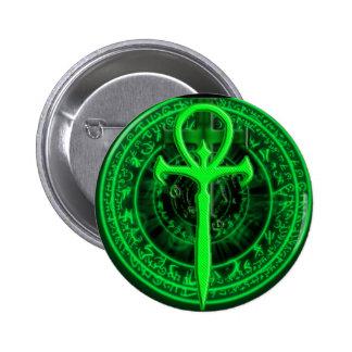 Green ankh 2 inch round button