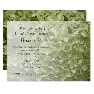 Green Annabelle Hydrangea Floral Bridal Shower Card