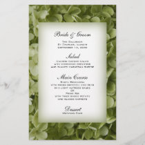 Green Annabelle Hydrangea Floral Wedding Menu