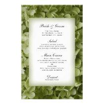 Green Annabelle Hydrangea Floral Wedding Menu