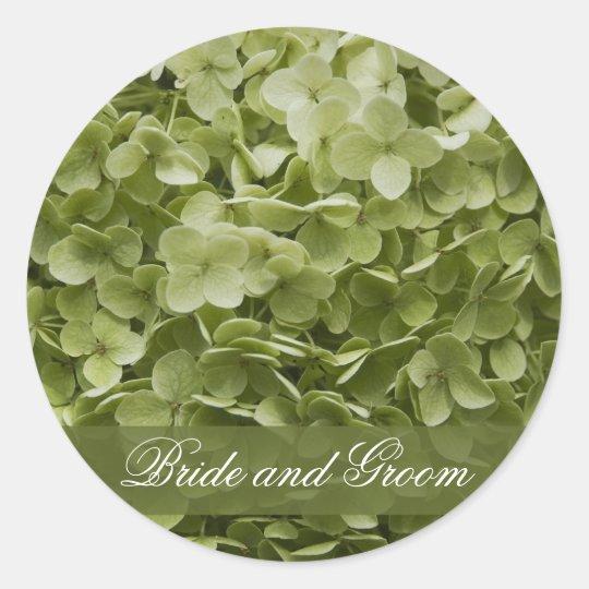 Green Annabelle Hydrangea Wedding Envelope Seal