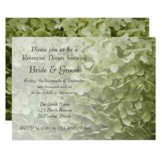 Green Annabelle Hydrangea Wedding Rehearsal Dinner Card