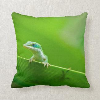 Green Anole Lizard Encounter Pillow