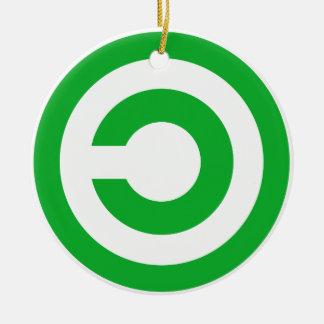 Green Anti-Copyright Copyleft Public Domain Symbol Ceramic Ornament