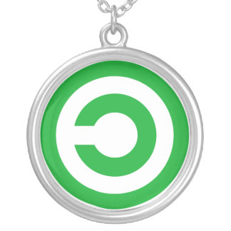 Green Anti-Copyright Copyleft Public Domain Symbol Silver Plated Necklace