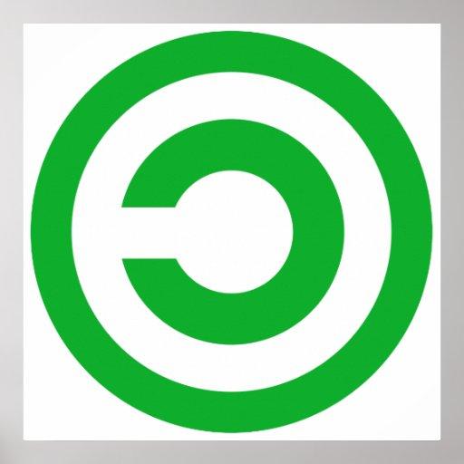 Green Anti-Copyright Copyleft Symbol Print