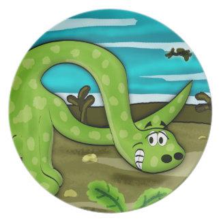 Green Apatosaurus Dinosaur Dinner Plate