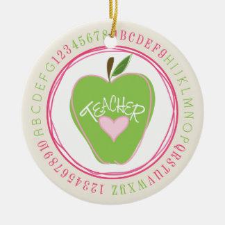 Green Apple & Alphabet Teacher Ornament