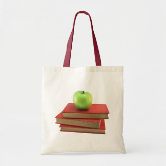 Green Apple and Red Books Bookbag Canvas Tote