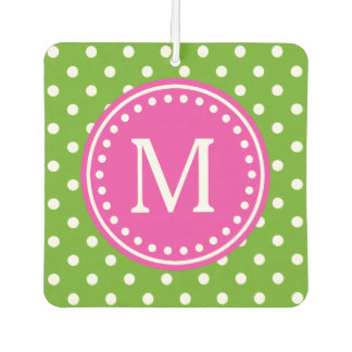 Green Apple and White Polka Dot with Diva Pink