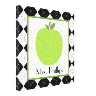 Green Apple Argyle Wrapped Canvas For Teacher Canvas Print