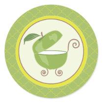 Green Apple Baby Carriage Envelope/Favor Sticker